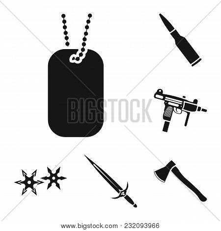 Types Of Weapons Black Icons In Set Collection For Design.firearms And Bladed Weapons Vector Symbol