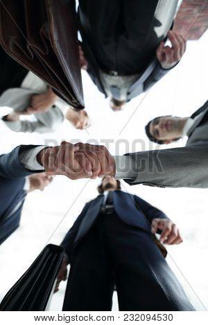 bottom view.business handshake