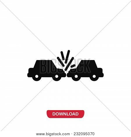 Car Crash Icon Vector In Modern Flat Style For Web, Graphic And Mobile Design. Car Crash Icon Vector