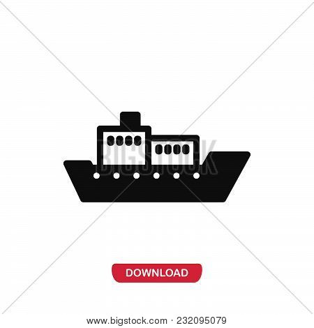 Cargo Boat Icon Vector In Modern Flat Style For Web, Graphic And Mobile Design. Cargo Boat Icon Vect