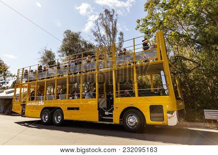 San Diego, Ca - May 8: Safari Bus And Tourists In San Diego Zoo In Balboa Park, California On Mat 8,