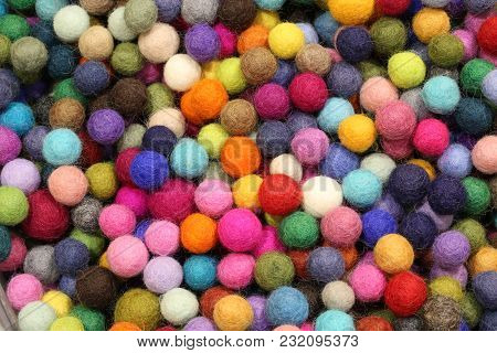 Background Of Many Colored Balls Made With Wool
