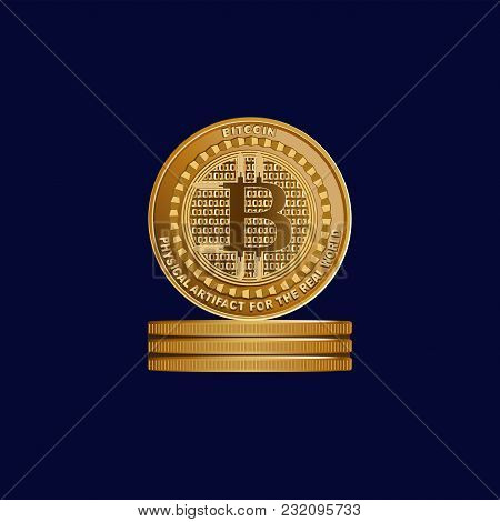 Gold Sign Of Crypto Currency. Bitcoin. Symbol Of A Physical Coin. Dark Blue Background. Cryptography