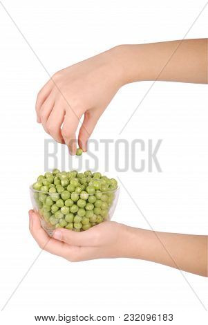 Green Small Spherical Seeds Of The Pod Fruit Pisum Sativum, An Edible Legume. Isolated Macro Food Ph