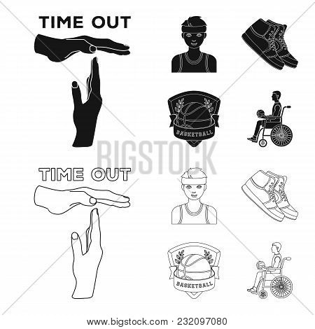 Basketball And Attributes Black, Outline Icons In Set Collection For Design.basketball Player And Eq