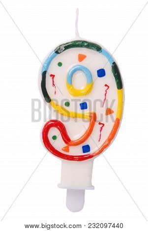 Birthday Candles In The Form Of Figures (numbers, Dates) For Cake Isolated On White Background. The