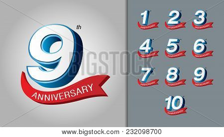 Set Of Anniversary Logotype. Modern Anniversary Celebration Emblem With Red Ribbon. Design For Bookl