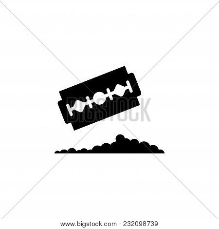Razor Blade With Pile Cocaine. Flat Vector Icon. Simple Black Symbol On White Background