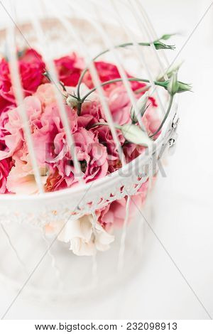 Wedding Floral Decoration In Beautiful Vintage Birdcage