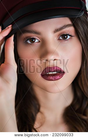 Close Up Of Beautiful Woman Face Portrait With Makeup. Macro Photo