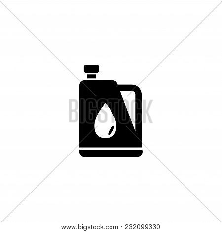 Motor Oil Tank. Flat Vector Icon. Simple Black Symbol On White Background