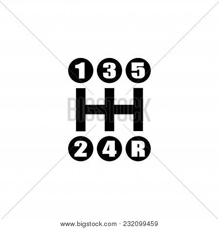 Gear Shifter. Manual Transmission. Flat Vector Icon. Simple Black Symbol On White Background