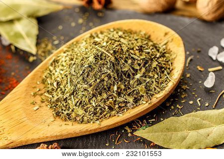Dry Spices Tarragon. Composition On The Kitchen Table. Cook's Joy.