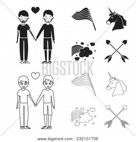 Flag, Unicorn Symbol, Arrows With Heart.gay Set Collection Icons In Black, Outline Style Vector Symb