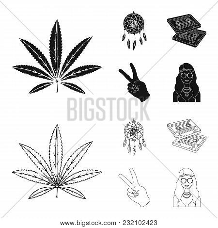 Amulet, Hippie Girl, Freedom Sign, Old Cassette.hippy Set Collection Icons In Black, Outline Style V