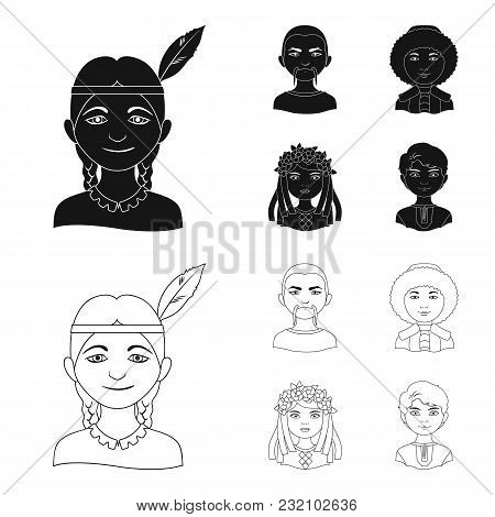 Chinese, Ukrainian, Russian, Eskimo. Human Race Set Collection Icons In Black, Outline Style Vector