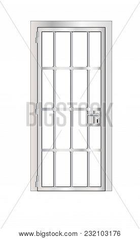 Stock Vector Isolated Illustration Prison Steel Door, Jail Behind Bars On White Background.
