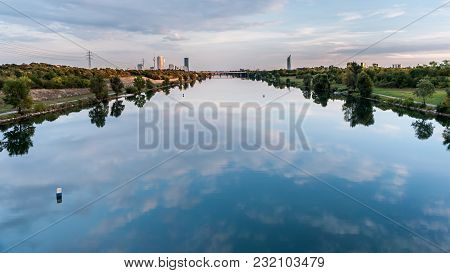 River Neue Donau In Vienna Austria On A Calm Day In Summer