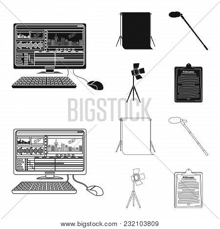 Hromakey, Script And Other Equipment. Making Movies Set Collection Icons In Black, Outline Style Vec