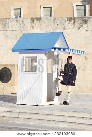 Athens Greece, December 02 2017: Greek Evzones, Greek Tsolias, Guarding The Presidential Mansion In