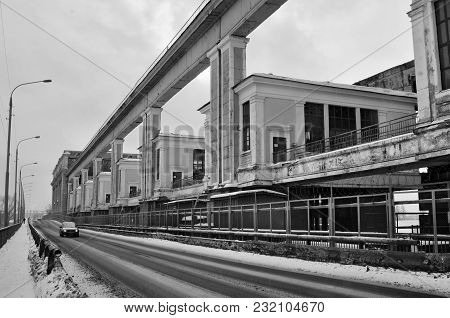 Hydroelectric Power Plant In Uglich With A Bridge And A Car In A Foreground, Yaroslavl Region, Russi