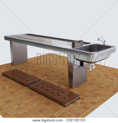 3d Rendering. Stainless Steel Table With Water Marks And Scratches. Elbow Medical Mixer With White W
