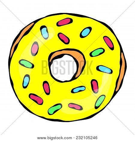 Sweet Donut With Sugar Glaze And Confetti Topping. Pastry Shop, Confectionery Design. Round Doughnut