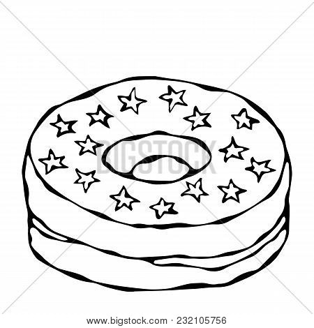 Sweet Donut With Sugar Glaze And Stars Topping. Pastry Shop, Confectionery Design. Round Doughnut Wi
