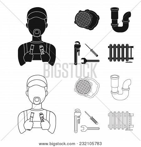Sewage Hatch, Tool, Radiator.plumbing Set Collection Icons In Black, Outline Style Vector Symbol Sto