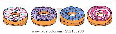 Set Of Sweet Donuts With Pink, Blue, Violet Sugar Glaze And Stars Confetti Topping. Pastry Shop, Con