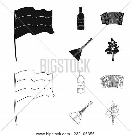 Russia, Country, Vodka, Accordion .russia Country Set Collection Icons In Black, Outline Style Vecto