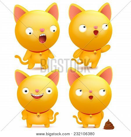 Set Of Yellow Emoji Cat Characters In Various Situations. Vector Illustration
