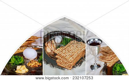 Pesah Celebration Concept Jewish Passover Holiday . Traditional Pesah Plate Text In Hebrew: Photo Co