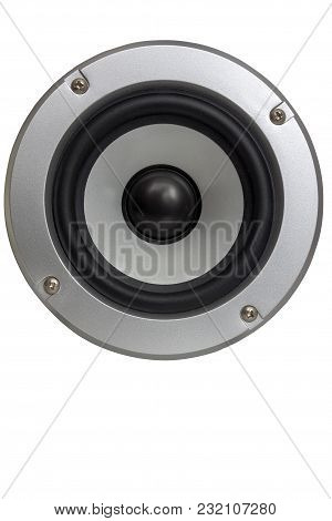 Low Frequency Loudspeaker On A White Background.