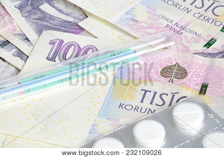 Thermometer, Pills And Czech Banknotes Money Currency Texture Background Patern