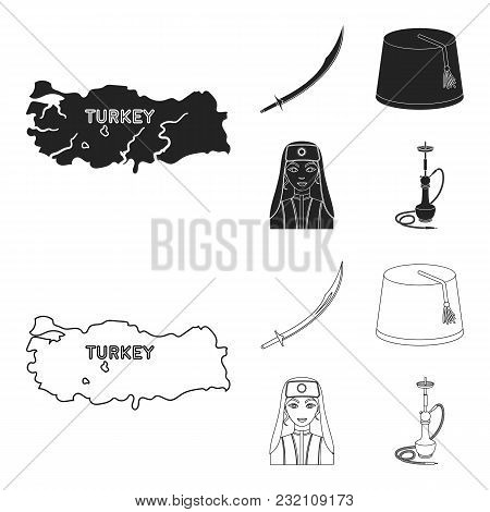 Turkish Fez, Yatogan, Turkish, Hookah.turkey Set Collection Icons In Black, Outline Style Vector Sym