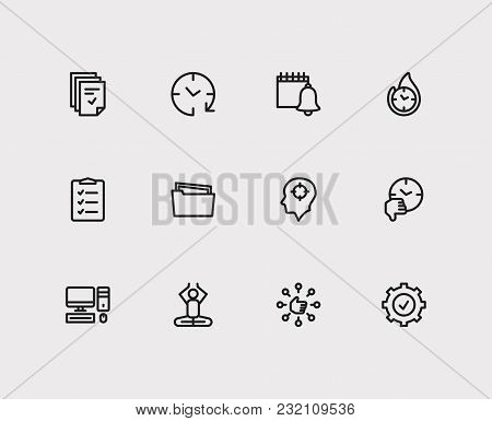 Task Icons Set. To-do List And Task Icons With Capability, Group Tasks And Productive Hours. Set Of