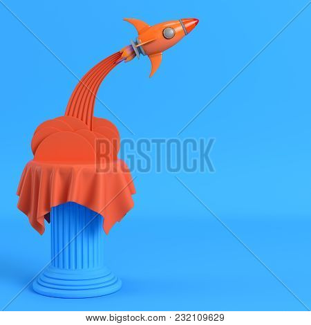 Launch Rocket From A Pillar On Bright Blue Background. Minimalism Concept. 3d Render