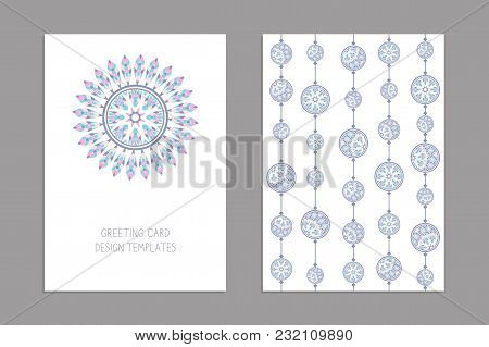 Templates For Greeting And Business Cards, Brochures, Covers With Floral Motifs. Oriental Pattern. M