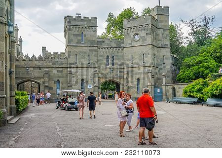 Yalta, Crimea - June 22, 2015: People Walk Around The Yard Vorontsov Palace, Located In The Middle O