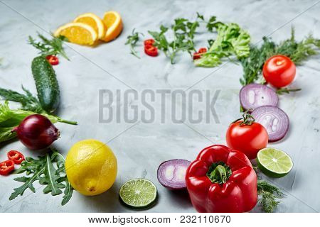 Frame Made Of Fruits, Vegetables And Herbs Isolated On White Background, Selective Focus, Flat Lay,