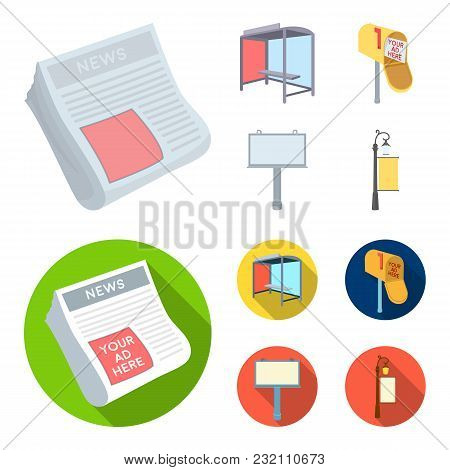 Newspapers, A Bus Stop, A Mail Box, A Billboard.advertising, Set Collection Icons In Cartoon, Flat S