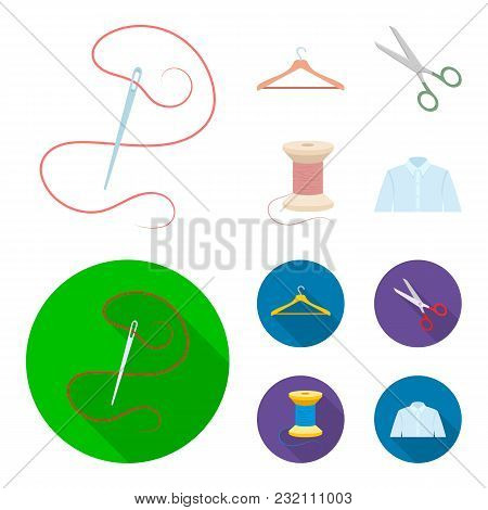 Thread, Reel, Hanger, Needle, Scissors.atelier Set Collection Icons In Cartoon, Flat Style Vector Sy