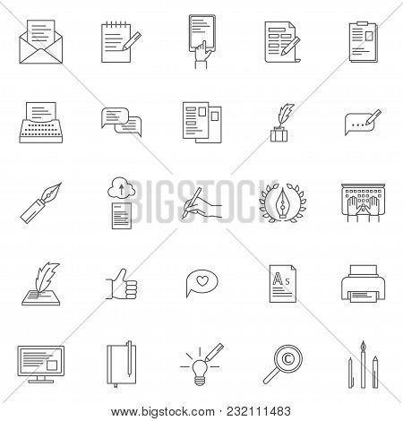 Copyright Signs Black Thin Line Icon Set Include Of Paper, Pencil, Hand And Document. Vector Illustr