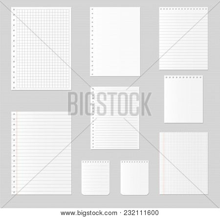 Notebook Paper Set On Isolated Background . Vector Illustration
