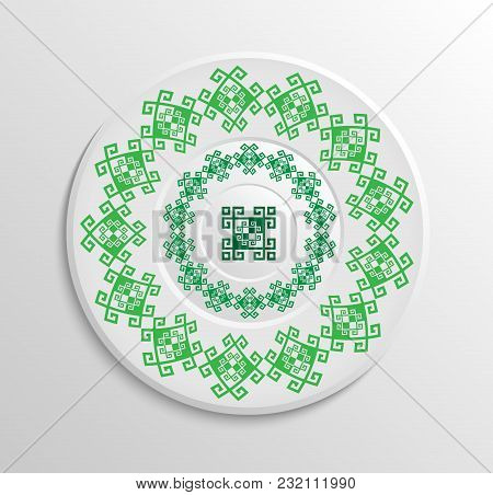 Table Appointments In Restaurant.. Decorative Plate With Round Ethnic Ornament. Ukrainian Style.  An