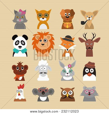 Cartoon Hipster Animals Characters Icon Set Fashion Portrait Or Avatar Concept Flat Design Style. Ve