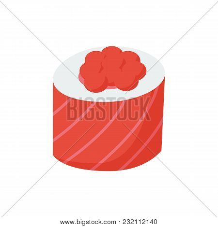 Ikura Roll Icon Flat Symbol. Isolated  Illustration Of  Icon Sign Concept For Your Web Site Mobile A