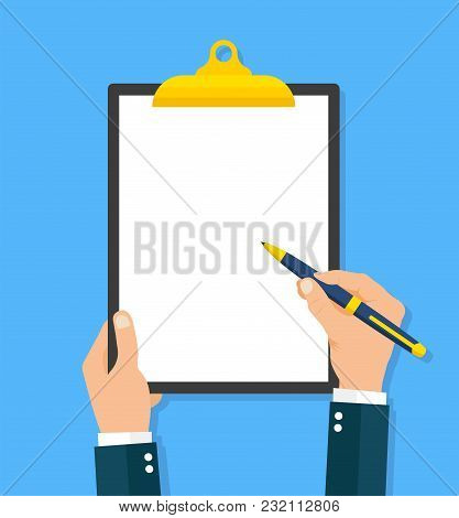 Hand Filling Clipboard Flat Style - Stock Vector .