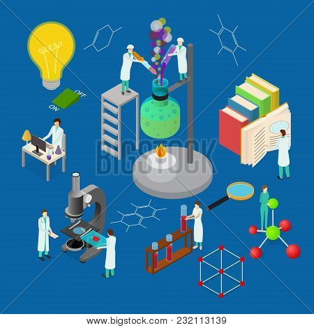 Science Chemical Pharmaceutical Concept 3d Isometric View On A Blue Background For Web. Vector Illus